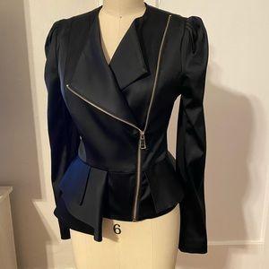 Asym sateen detail peplum jacket
